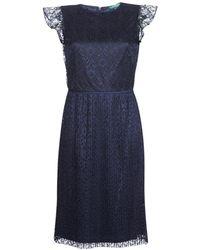 6797d8f8f6a96d Lauren by Ralph Lauren - Lace Cap Sleeve Dress Women s Dress In Blue - Lyst