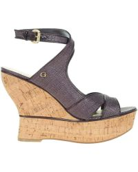 Guess - Lailanni Zeppa Wedge Texture Dark Brown Women's Court Shoes In Multicolour - Lyst