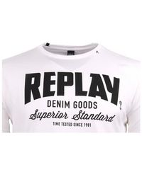 Replay - M34812660001 Men's T Shirt In White - Lyst
