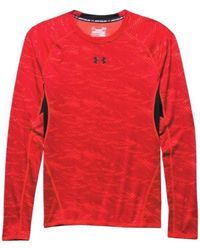 Under Armour - Heatgear Armour Printed Long Sleeve Compression M Men's In Red - Lyst