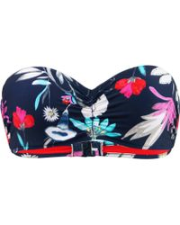 Seafolly - Indigo Bustier Bandeau Swimwear Flower Festival Women's Mix & Match Swimwear In Blue - Lyst