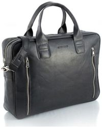 Brødrene - 7192 Men's Briefcase In Black - Lyst