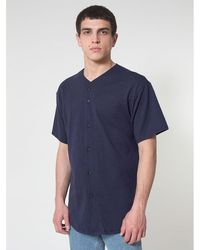 American Apparel - Mens Thick-knit Short Sleeve Baseball T-shirt Men's Short Sleeved Shirt In Blue - Lyst