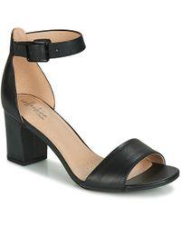 4ff835782f2 Clarks Susie Deva Leather Block Heel Sandals in Black - Lyst