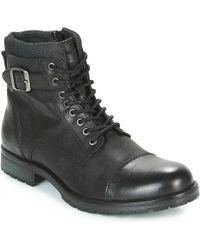 Jack & Jones - Albany Leather Men's Mid Boots In Black - Lyst