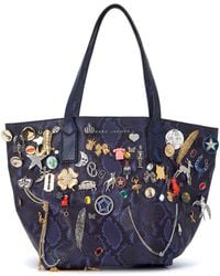 Marc By Marc Jacobs - Shopper In Pelle Blu Effetto Pitone Women's Shoulder Bag In Blue - Lyst