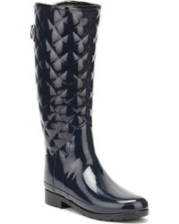 HUNTER - Original Womens Refined Tall Quilted Gloss Navy Wellington Boot Women's Wellington Boots In Blue - Lyst