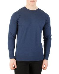 John Smedley - Men's Marcus Longsleeved Knit, Blue Men's Sweater In Blue - Lyst