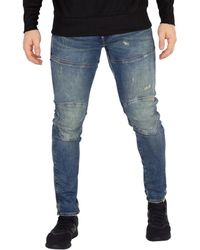 G-Star Raw Rackam Skinny Fit Moto Jeans In Dark Aged in Blue for Men ... a84e25b2a414