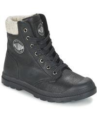 Palladium - Pampa Knit Lp Women's Mid Boots In Black - Lyst