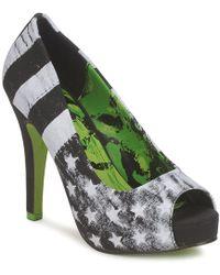 Abbey Dawn - Platform Peeptoe Women's Court Shoes In Black - Lyst