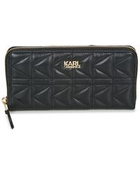 Karl Lagerfeld - K/kuilted Zip Auround Wallet Women's Purse Wallet In Black - Lyst
