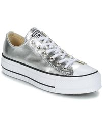 Converse - Chuck Taylor All Star Lift Clean Ox Metallic Canvas Women's Shoes (trainers) In Silver - Lyst