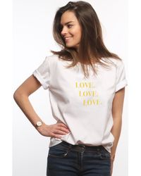 L'affaire De Rufus - 100% Organic Cotton Screen-printed Round Neck T-shirt Love Love Women's T Shirt In White - Lyst