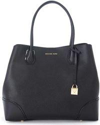 MICHAEL Michael Kors - Borsa A Spalla Mercer Gallery Grande In Pelle Nera Women's Handbags In Black - Lyst