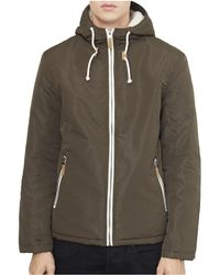 The Idle Man - Zip Through Jacket With Borg Hood Green Men's Sweatshirt In Green - Lyst