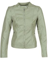 Vila - Viaya Women's Leather Jacket In Green - Lyst