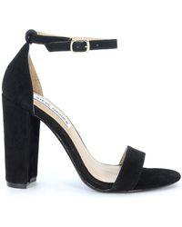 Steve Madden - Sandalo Con Tacco Carrson In Camoscio Nero Women s Sandals  In Black - Lyst d8076a4c7db