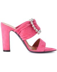 9c59d047de2b9 Via Roma 15 - Fuxia Suede Sandal With Crystals Women's Sandals In Pink -  Lyst