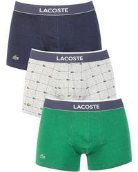 Lacoste - Men's 3 Pack Cotton Stretch Trunks, Blue Men's In Blue - Lyst
