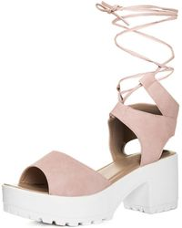 83a9a7cac11 SPYLOVEBUY - Molly Open Peep Toe Mid Heel Sandals Shoes - Pink Leather Style  Women s Sandals
