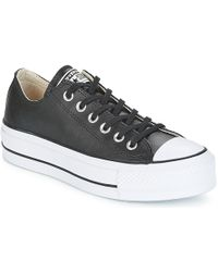 Converse - Chuck Taylor All Star Lift Clean Ox Women's Shoes (trainers) In Black - Lyst