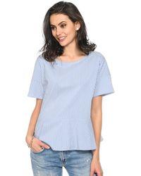 Baukjen - Short-sleeved Striped Blouse Rona Frill Indigo Blue / White Wom Women's Blouse In Blue - Lyst