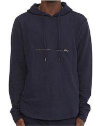 The Idle Man - Ottoman Rib Overhead Hoodie Navy Men's Sweatshirt In Blue - Lyst
