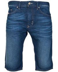 DIESEL - Pure Cotton Denim Shorts In Indigo Blue Thashort-082 Men's Shorts In Blue - Lyst