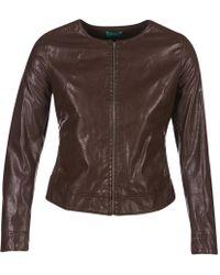 Benetton - Janoura Women's Leather Jacket In Brown - Lyst