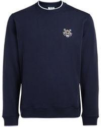 KENZO - Blue Tiger Logo Fleece Men's Sweatshirt In Blue - Lyst
