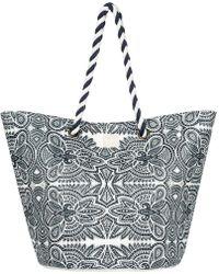 Roxy - Sunseeker - Bolsa De Playa De Paja Women's Handbags In Blue - Lyst