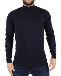 John Smedley - Men's Harcourt Turtle Neck Knit, Blue Men's Sweater In Blue - Lyst
