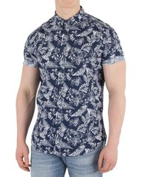 Superdry - Men's Shoreditch Buttoned Down Shirt, Blue Men's Short Sleeved Shirt In Blue - Lyst