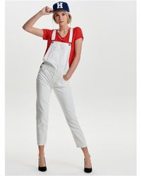 ONLY | Mono Blanco Vaquero Onlnirvana White Dnm Overall Akm Women's Jumpsuit In White | Lyst