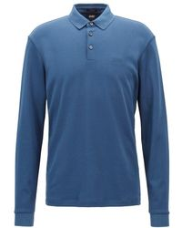 53f334936c3dc BOSS Pado 03 Long Sleeved Polo Blue in Blue for Men - Lyst