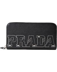 Prada | Saffiano Character Zip Around Wallet | Lyst