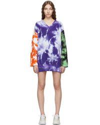 MSGM - Purple Tie-dye V-neck Sweater Dress - Lyst