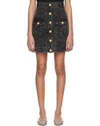 Balmain - Black Denim Six-button Miniskirt - Lyst