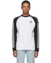 adidas Originals - Black And White Long Sleeve 3-stripes T-shirt - Lyst