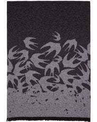 McQ - Black And Grey Swallow Degrade Scarf - Lyst