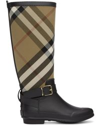 Burberry - Black And Beige Check Rain Boots - Lyst