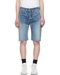 cde09456b1 Saint Laurent - Blue Denim Bermuda Shorts - Lyst