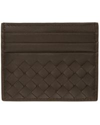 Bottega Veneta - Brown Intrecciato Card Holder - Lyst