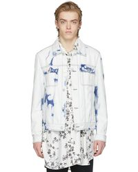 Wooyoungmi - White And Blue Denim Ultra Washed Jacket - Lyst