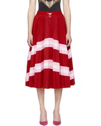 Valentino - Red Pleated Skirt - Lyst