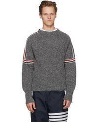 Thom Browne - Grey Classic Crewneck Stripes Pullover - Lyst