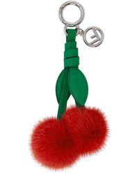 Fendi - Red Fur Cherries Keychain - Lyst