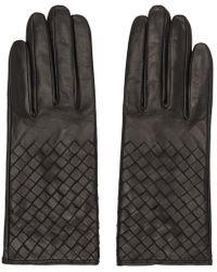 Bottega Veneta - Black Leather Intrecciato Gloves - Lyst