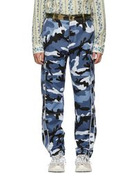 Valentino - Blue Camouflage Cargo Trousers - Lyst